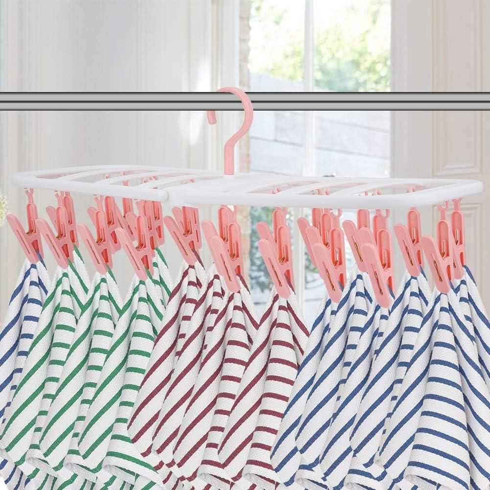 Plegable Multifuncional 24 Clips Ropa Interior Calcetines Percha Colgador de Secado para el hogar Plegable Clip de Viaje port/átil Percha de Secado por Goteo Rosado