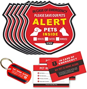 Pet Alert Stickers - in Case of Emergency Pets Rescue Stickers Static Cling Window Decals (6 Pack), Pet Home Alone Wallet Cards, Key Tag - NO Adhesive, Removable, UV Resistant
