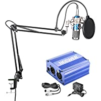NW-800 MICROPHONE KIT(GOLD)+48V PHANTOM POWER+ADAPTER+XLR AUDIO CABLE(BLUE)(US£©