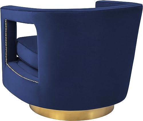 MEXIYA Stark Modern Navy Textured Velvet Upholstered Swivel Accent Chair with Brushed Gold Base