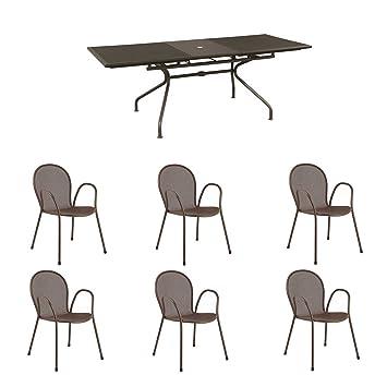 Emu - Set 1x table extensible Athena 230/300 x 100 cm + 6x chaises ...