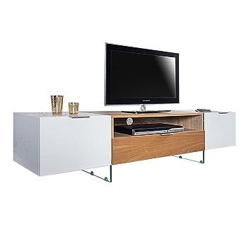 Design TV Lowboard ONYX weiss hochglanz Eiche 160 cm TV Schrank ...