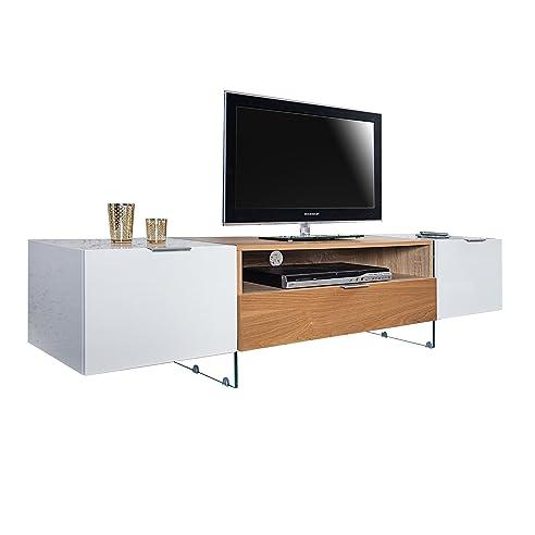 Design TV Lowboard ONYX Weiss Hochglanz Eiche 160 Cm TV Schrank  Fernsehschrank Fernsehtisch