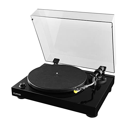 Fluance High Fidelity Vinyl Turntable Record Player with Premium Cartridge, Diamond Stylus, Belt Drive, Built-in Preamp, Adjustable Counterweight & Anti-Skating, Glossy Black Wood Cabinet (RT80)