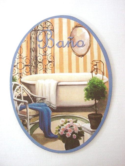 Placa Madera Adhesiva Cartel Puerta Letrero Oval BAÑO Lavabo ...