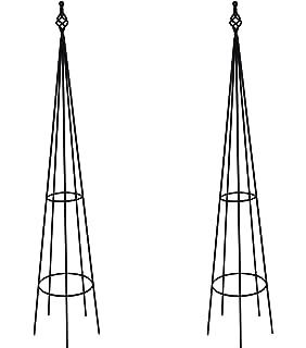 Ruddings Wood Set Of 2 X 1.4m Metal Finial Garden Obelisk   140cm High  Climbing