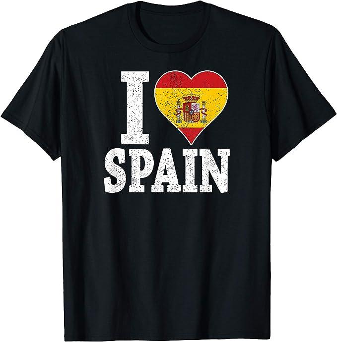 Amo la bandera de España en un corazón Camiseta: Amazon.es: Ropa y accesorios