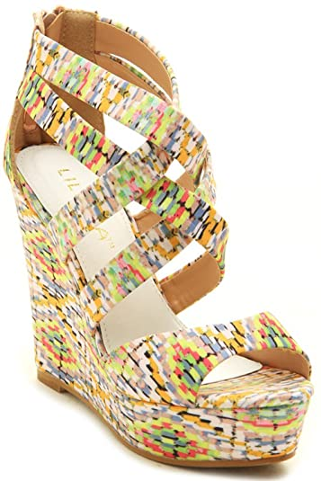 bfacce8c1d73c5 Liliana Tropical Prints Strappy Wedge Sandals Brea-2 (7.5) Beige