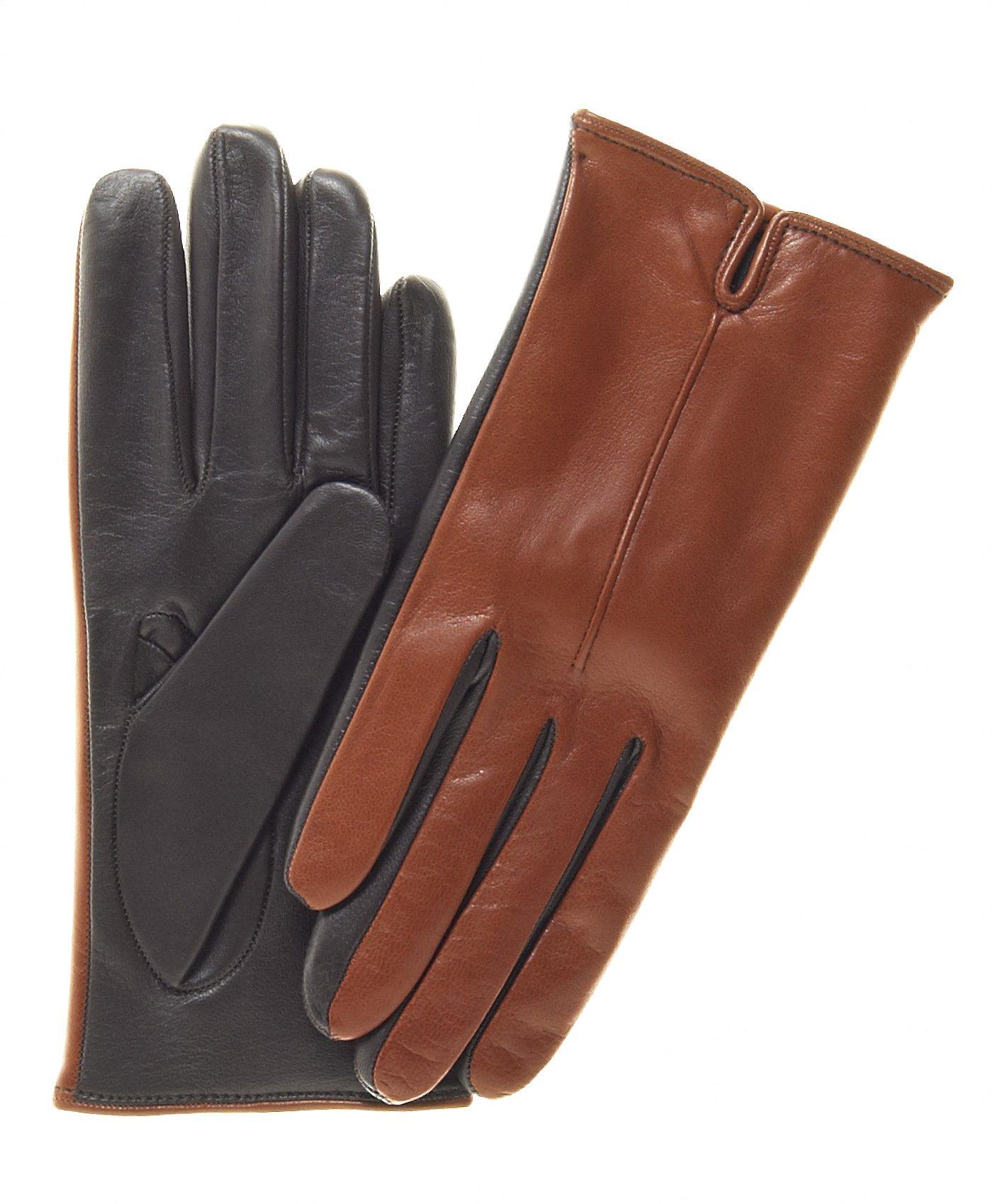 Fratelli Orsini Women's Touchscreen Italian Cashmere Lined Leather Gloves Size 8 Color Medbrn/Drkbrn