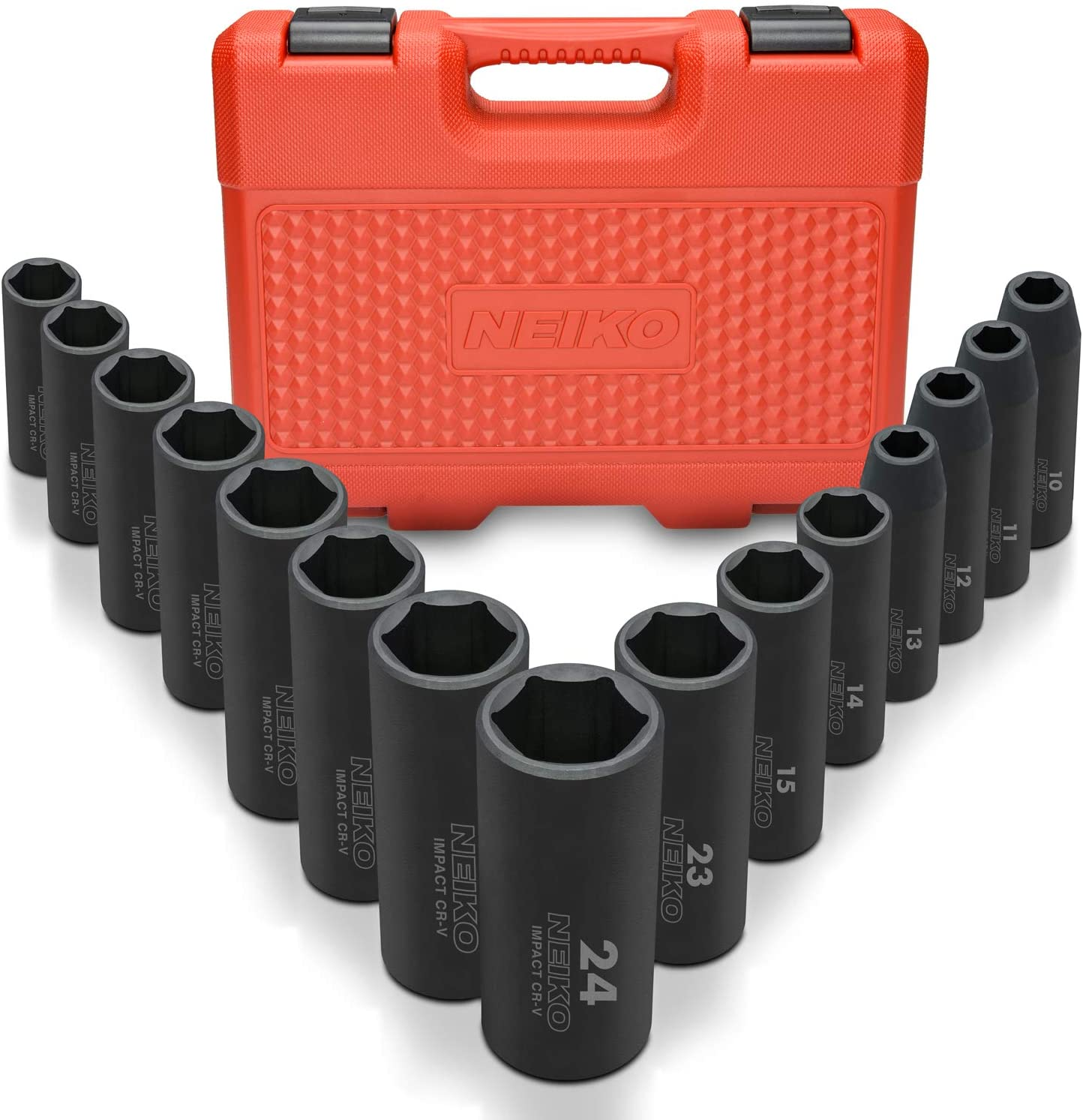 6 Point, TACKLIFE Complete 1//2-Inch Drive Deep Impact Socket Set Metric CR-V