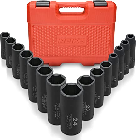 "Cr-V Steel 3//8/"" and 1//2-Inch Drive 10-Piece Set Neiko 02473A External Star Torx Plus Socket Set EP6 to EP24 1//4/"""