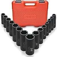 Neiko 02474A 1/2″ Drive Deep Impact Socket Set, 15 Piece | 6 Point Metric Sizes (10-24 mm) | Cr-V Steel