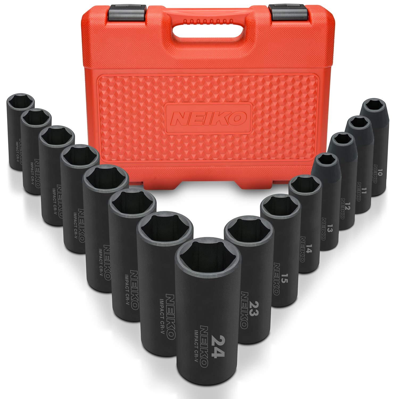 "Neiko 02474A 1/2"" Drive Deep Impact Socket Set, Cr-V Steel, 6-Point | 15-Piece Set | Metric 10-24mm"