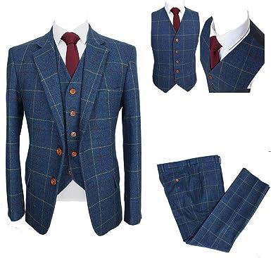 Amazon Com Traje Azul Para Hombre Con Rejilla Amarilla Mezcla De Lana 3 Piezas A Cuadros Tweed Traje De Boda De Un Solo Pecho Sastre Esmoquin Clothing