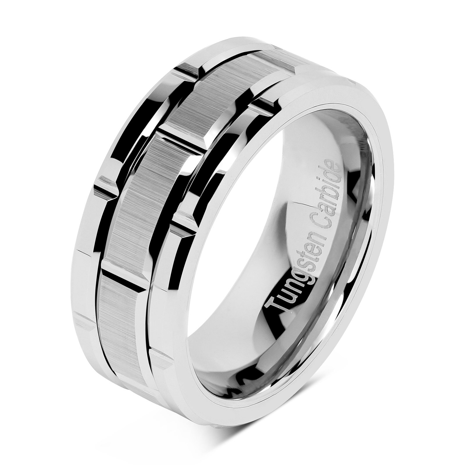 100S JEWELRY Tungsten Rings For Men Wedding Band Silver Brick Pattern Brushed Engagement Promise Size 8-16 (8)
