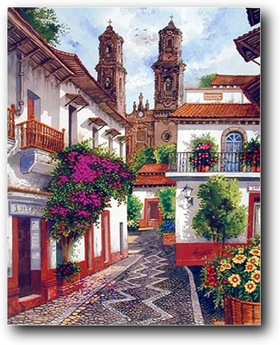 Old Mexico City Horacio Robles Jr Wall Art Decor Mahogany Framed Picture 18x22