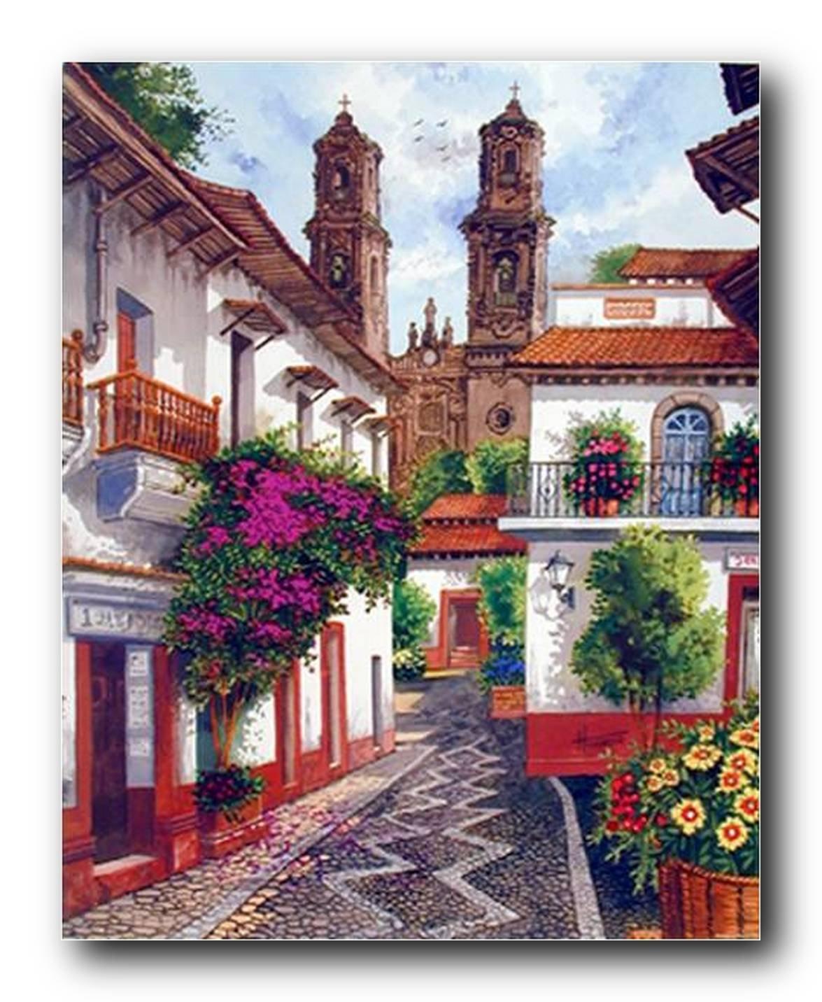 Old Mexico City Horacio Robles Jr Wall Decor Art Print Poster (16x20)