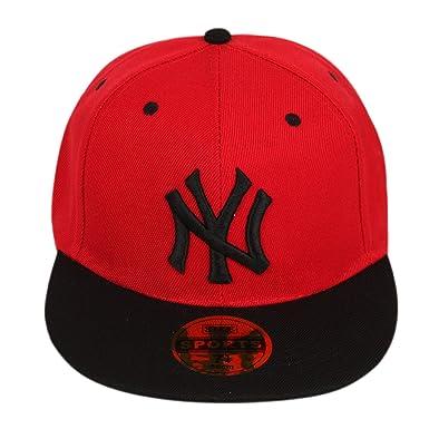 ILU NY Unisex Cotton Snapback Hiphop Cap Red and Black Freesize ... b4c50d99bfa
