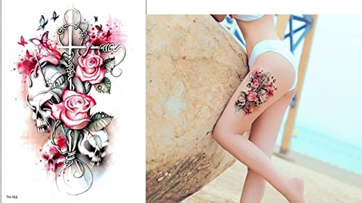 Calavera y rosas Tattoo TH de 155 ausdrucksvolles Tattoo: Amazon ...