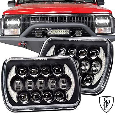 SPL 105W Brightest 5''x7''/7''x'6'' Projector Cree Led Headlights with DRL for Jeep Wrangler YJ Cherokee XJ H6054 H5054 H6054LL 69822 6052 6053 Toyota Pickup(Black Pair): Automotive