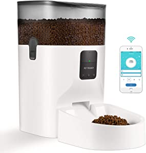 7L Automatic Cat Feeder - WiFi Enabled Smart Food Dispenser for Cats Dogs with App Remote Control, Programmable Timer, Voice Reorder, Clog-Free Design and Feeding Schedule for Up to 15 Meals per Day