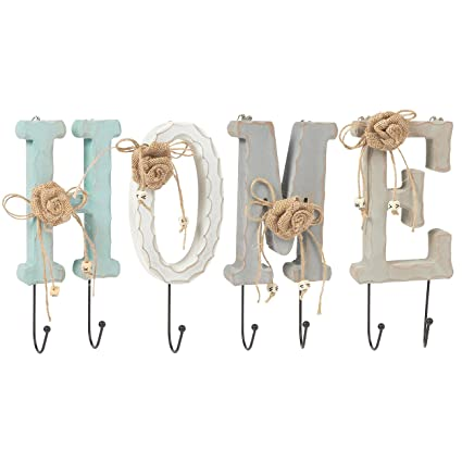 juvale home letter wooden wall hook rail set with 6 pegs charming indoor iron hooks
