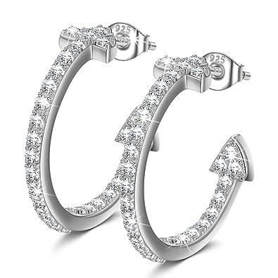 Creolen Ohrringe PRINCESS NINA quot Romantik quot  Damen Ohrringe Silber  925 Schmuck Geschenke für Muttertag Valentinstag 62777e8c10