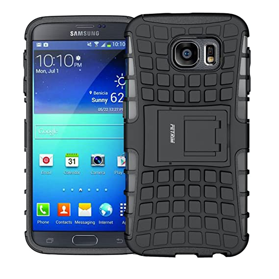 sale retailer 83e02 b6af9 Samsung Galaxy S6 Case,Shockproof Slim Rugged Case Dual Layer Ultra  Protective Rubber Hard Protection Cover for Samsung Galaxy S6 with  Kickstand ...