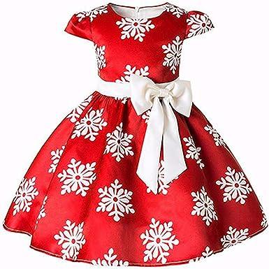 80aa6acdcaf Amazon.com: Miao Express Girls Dress Princess Christmas Costume Snow ...