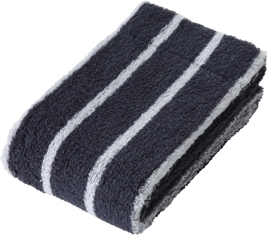 Muji - Toalla de baño de algodón orgánico suave y esponjosa, importación de Japón, color Azul marino con rayas: Amazon.es: Hogar