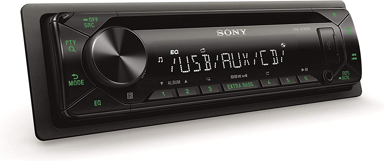 Sony CDX-G1302U - Reproductor CD para Coche (Extra Bass, USB, amplificación de 55W x 4 Salidas, Ecualizador de 10 Bandas, Luces Verdes), Negro
