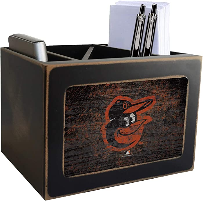 Orioles Distressed Team Logo Desktop Organizer with Color