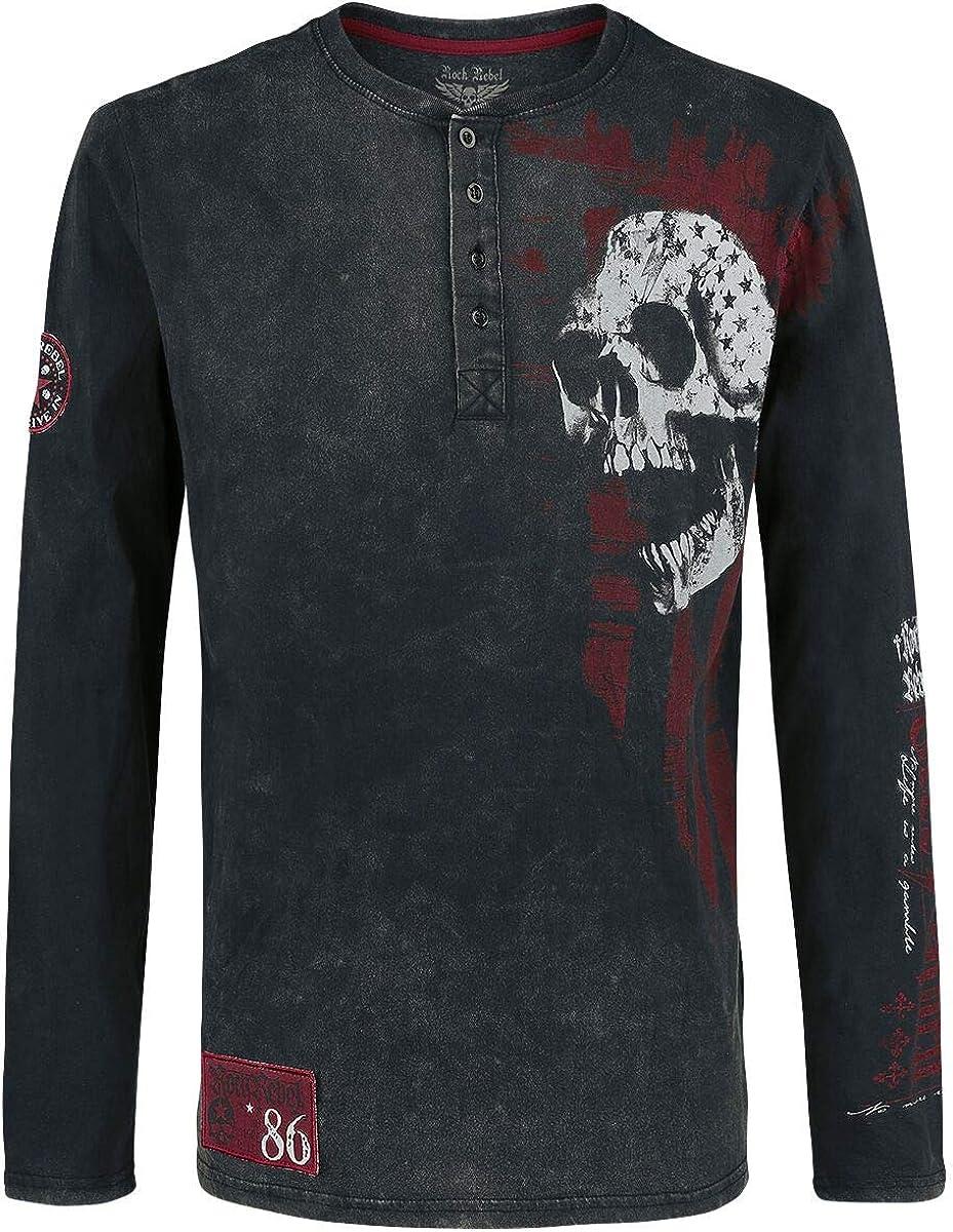 Rock Rebel by EMP Through The Glass Hombre Camiseta Manga Larga Negro/Gris S, 100% algodón, Regular: Amazon.es: Ropa y accesorios