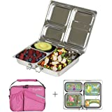 PlanetBox LAUNCH Eco-Friendly Stainless Steel Bento Lunch Box with 3 Compartments for Adults and Kids - Pink Carry Bag with Woodland Fairies Magnets