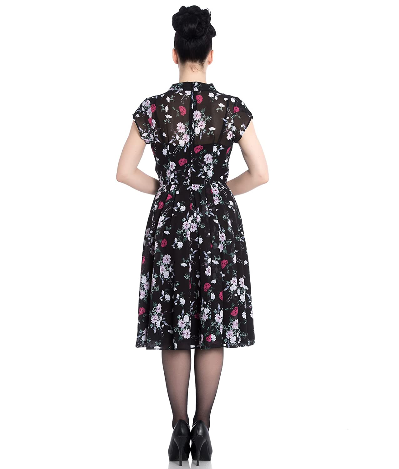 6de304030d7 Hell Bunny Belleville Vintage 40s Floral Chiffon Tea Dress  Amazon.co.uk   Clothing