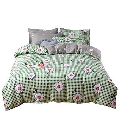 BeddingWish Cartoon Sunshine Green Checkered Daisy Flower Kids Bedding hidder Zipper Winter Duvet Cover Sets Queen (3Pcs): Home & Kitchen