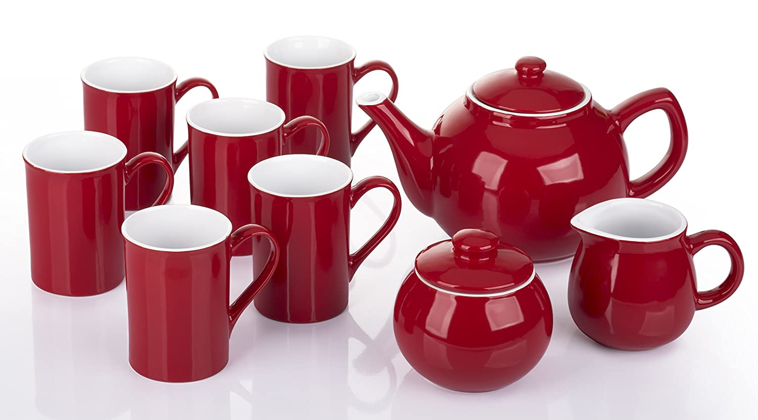 9 Piece 2Tone Red & White Tea Set Waterside Fine China