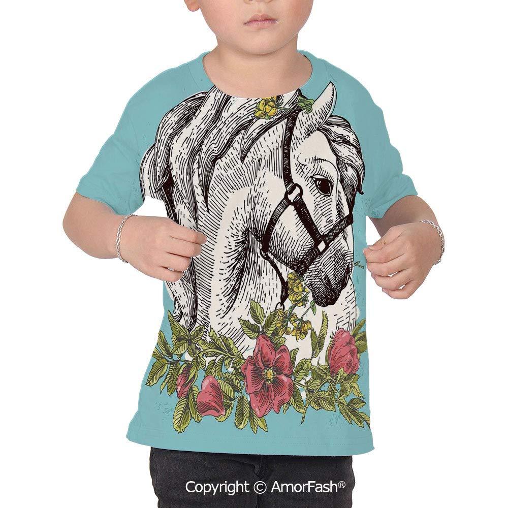Floral Over Print T-Shirt,Boy T Shirt,Size XS-2XL Big,Boho Style Horse Opium Blo