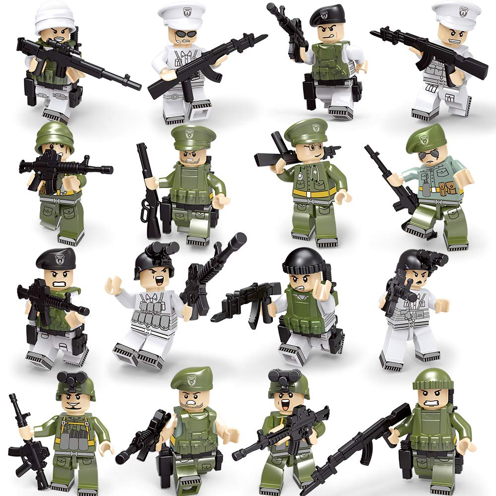 KAZI Military Minifigures Sets - Marine Corps Soldiers,US Navy and Army Men with Military Weapons Accessories Action Figures Building Bricks Toys 100% Compatible,16Pcs