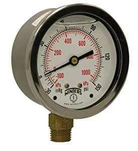 "Winters PFQ Series Stainless Steel 304 Dual Scale Liquid Filled Pressure Gauge with Brass Internals, 30"" Hg Vacuum-0-150 psi/kpa,2-1/2"" Dial Display, +/-1.5% Accuracy, 1/4"" NPT Bottom Mount"