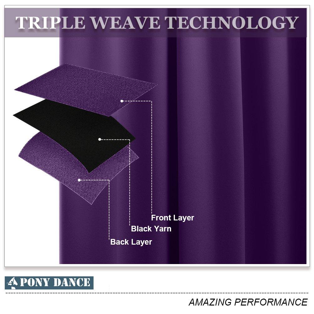 Blackout Curtains for Kitchen Windows - PONY DANCE Home Decor Light Blocking Grommet Curtain Royal Purple