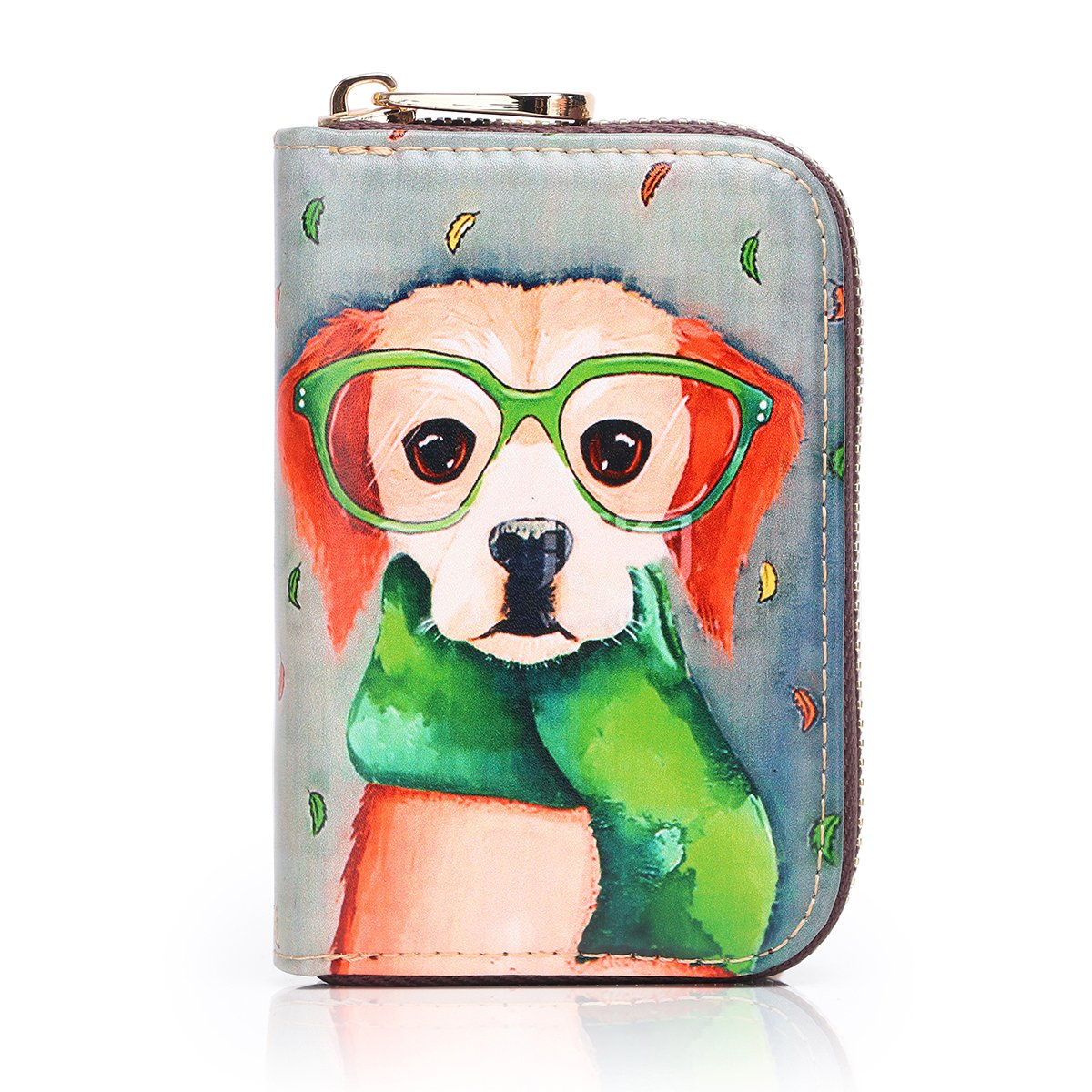 APHISON RFID Credit Card Holder Wallets for Women Leather Cartoon Patterns Zipper Card Case for Ladies Girls/Gift Box 012