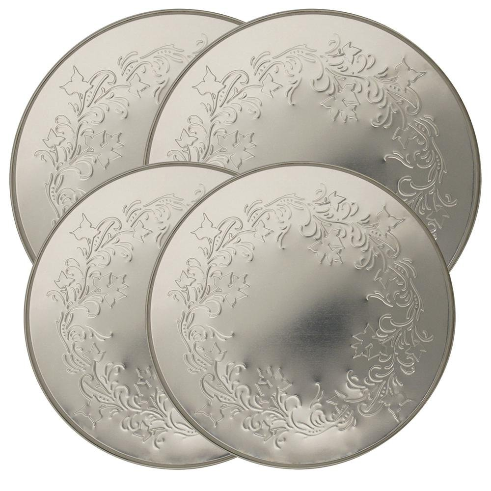 Range Kleen 5058 4 Pack Round Ivy Embossed Silver Burner Kovers with 2 8.5 Inch and 2 10.5 Inch