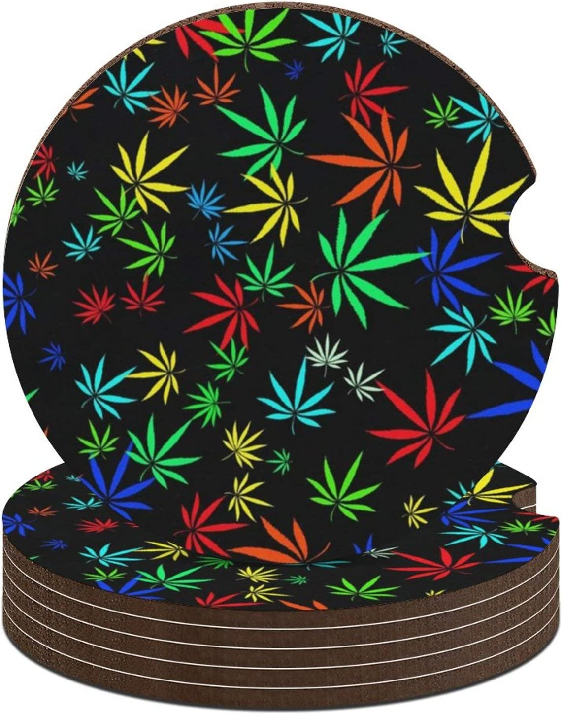 Car Coasters Car Cup Holder Coasters Absorbent Ceramic Coasters for Car 2.6 inch Colorful Marijuana Leaf of Cannabis Pattern for Women and Men (Set of 6)