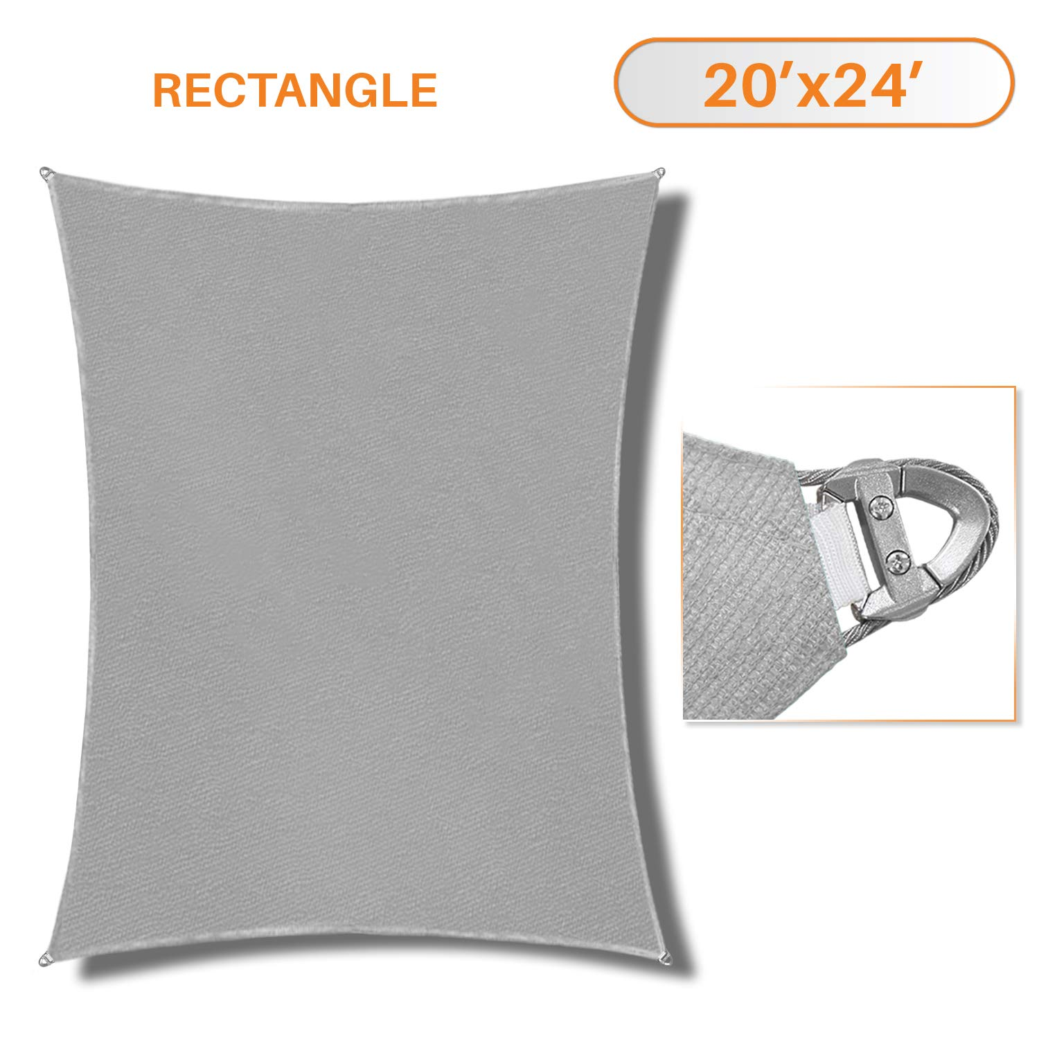 Sunshades Depot A Ring Design Steel Cable Wire Reinforcement Sun Shade Sails 20' x 24 ' Rectangle Light Gray Heavy Duty Permeable 260 GSM