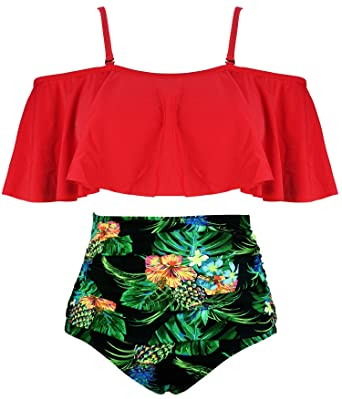 1fedf8b0b26 COCOSHIP Red   Green   Yellow Pineapple Leaves Ruffled Bikini Set Flounce  Falbala Top Tiered Ruched