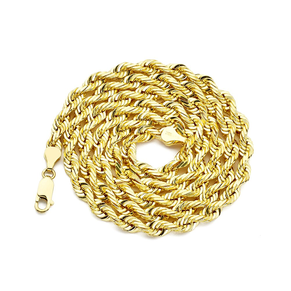 LoveBling 10K Yellow Gold 6mm 22'' Diamond Cut Rope Chain Necklace with Lobster Lock by LOVEBLING