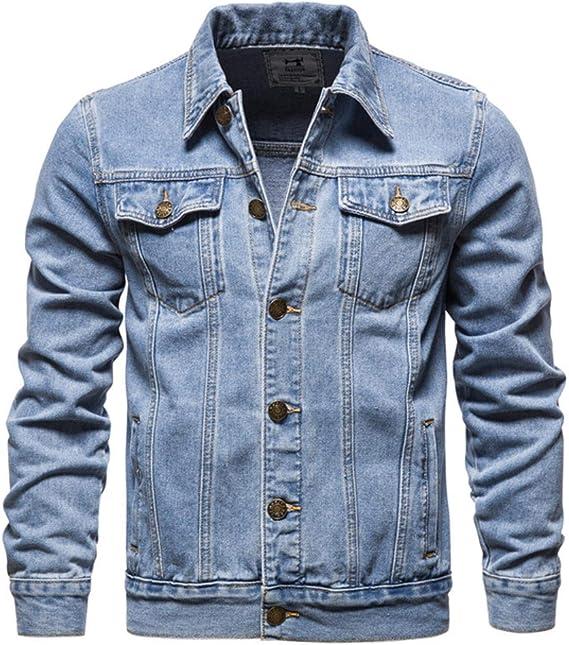 コットンデニムジャケット男性カジュアルソリッドカラーラペルシングルブレストジーンズジャケット
