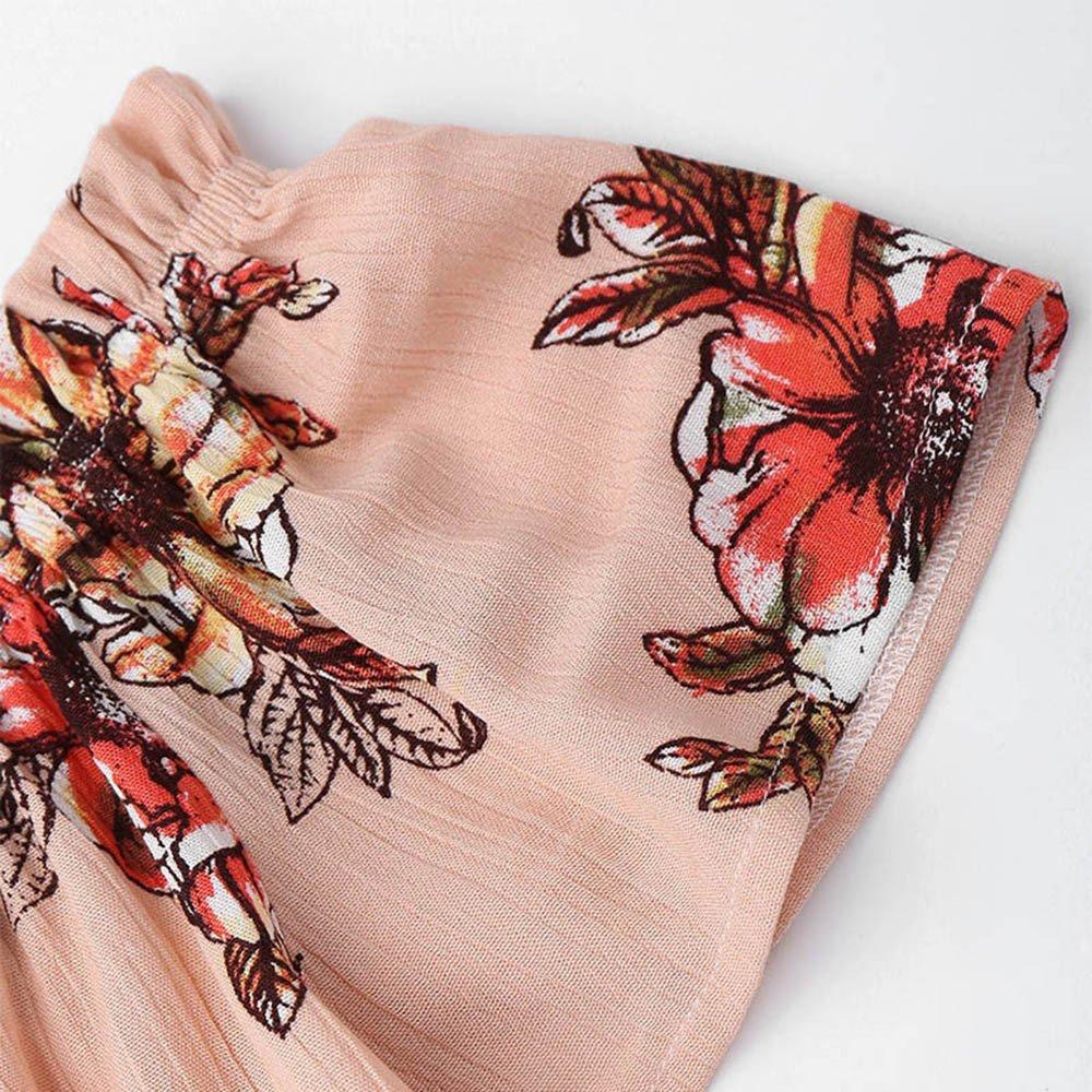 Women Casual Two Piece Set Off Shoulder Printed Beachwear Crop Tops Set,2019 New