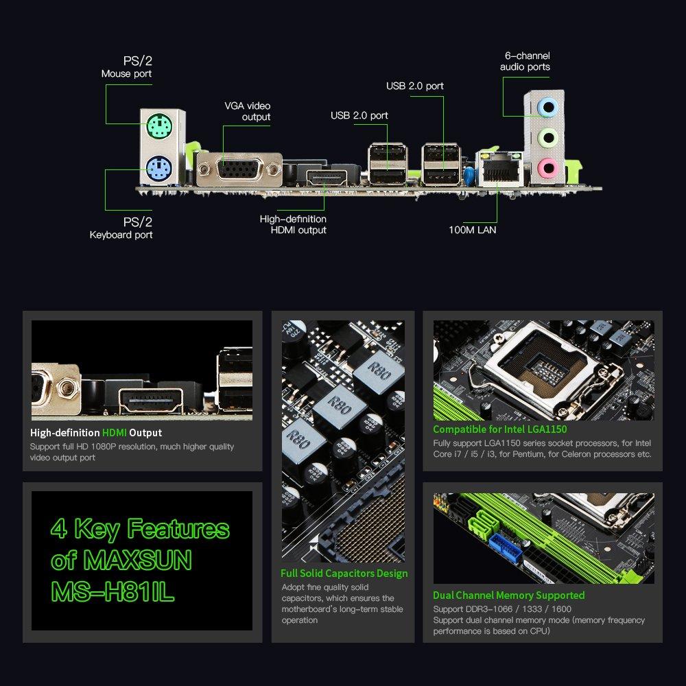 KKmoon MAXSUN MS-H81IL M.2 for Intel H81 LGA 1150 Socket Desktop Computer Mainboard Motherboard SATA 6Gb/s USB 2.0 Games DDR3 Intel LGA1150 Mini-ITX by KKmoon (Image #5)